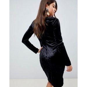 VERO MODA Velvet V-Neck Long Sleeve Mini Dress
